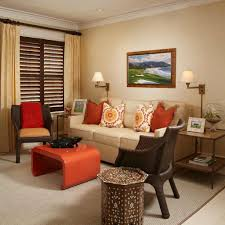 burnt orange and brown living room design and decorating ideas for
