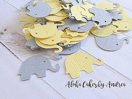 yellow and gray baby shower decorations elephant confetti yellow and gray baby shower