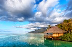 beach morning lagoon polynesia crystal emerald water chalet