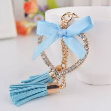 crystal chain rings images Novelty unique love bow tassel keychain rhinestone metal keyring jpg
