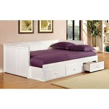 bedroom white wooden daybed with storage drawers combined by