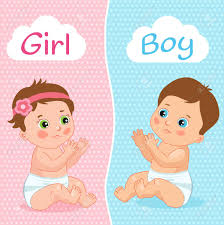 baby shower babies baby boy and baby girl vector illustration two