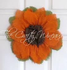burlap sunflower wreath small bright orange burlap sunlower wreath the crafty wineaux