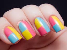 springtime color block tape manicure youtube