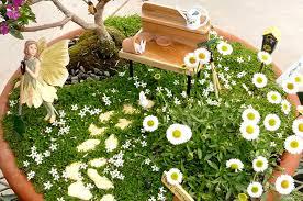 terrace and garden spring time blossoms miniature fairy garden