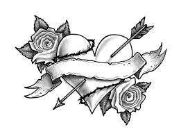 tribal heart and flower tattoo designs