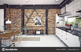 Wohnzimmer Modern Loft Loft Küche Interieur U2014 Stockfoto 152956280