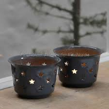 ib laursen candle holder with stars for tealight enamel grey