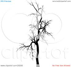 clipart illustration of a black silhouetted bare leafless tree in