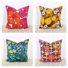Cusion Cover Cushion Cover 1960s 70s Vintage Retro Floral Fabric 16