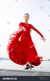 woman traditional spanish flamenco dancer dancing stock photo