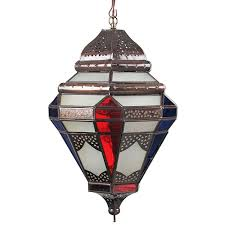 tin moroccan pendant light with frosted and multi colored glass