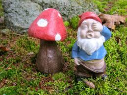 gnome and toadstool concrete statues fairy garden decor