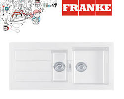 FRANKE Sid   Bowl Tectonite White Kitchen Sink PopUp - Kitchen sink pop up waste