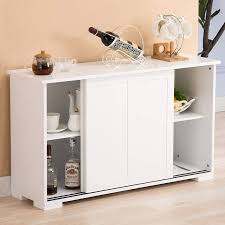 kitchen cabinet sliding doors mecor sideboards and storage cabinet white kitchen buffet cabinet server table with 2 sliding doors 1 shelf dining room furniture