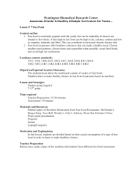 Fast Food Job Resume by Unit 7 Fast Food Lesson Plan
