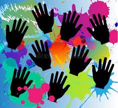paint colors splash and hands vector color splash abstract paint