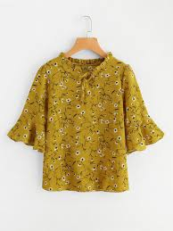 yellow blouse calico print flute sleeve frill blouse shein sheinside