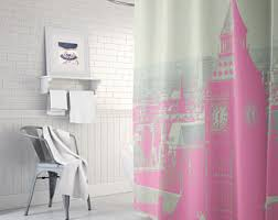 pink shower curtain etsy