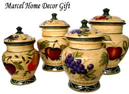 canisters kitchen decor decorative canister sets kitchen home decor tuscany fruit design