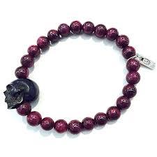 bracelet men skull images Ruby carved jet skull bracelet jpg