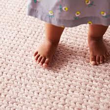 Armadillo Co Sierra Weave Wool Kids Rug Light Pink