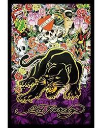 deals on ed hardy black panther kills slowly 36x24