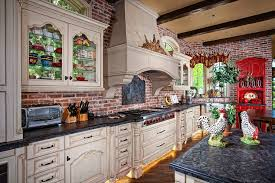 brick backsplash kitchen victorian with metro tile oval dining