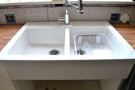 modern farmhouse kitchen sink in white color with two basin idea