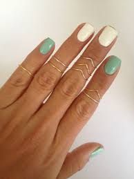 midi ring set 8 midi ring set in gold and silver chevron and simple bands by