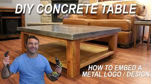 how to make a concrete coffee table and how to embed a metal