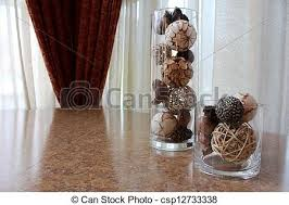 Table Vase Decorations Stock Photos Of Glass Vases And Earthy Decorations Tall And