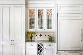 Leaded Glass Kitchen Cabinets | bar with custom leaded glass upper cabinets traditional