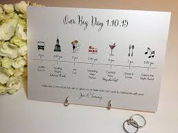 timeline card the big day wedding celebration guest
