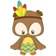 owl with indian feathers thanksgiving applique machine