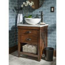 Bathroom Vanities With Bowl Sink Shop Allen Roth Cromlee Bark Vessel Poplar Bathroom Vanity With