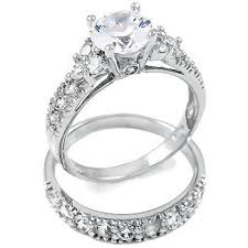diamond wedding ring sets sterling silver cubic zirconia cz wedding engagement
