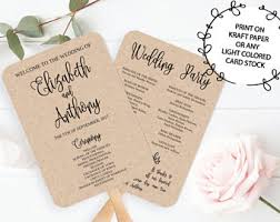wedding program card stock wedding program fan etsy
