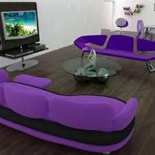 modern dark purple living room curtain and trendy club floor lamp