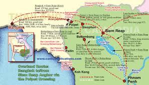 Bangkok Map Map Overland Travel Bangkok Siem Reap Phnom Penh