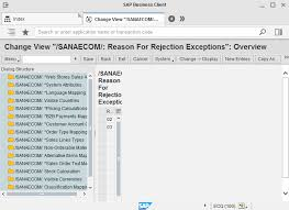 sales order table in sap reason for rejection exceptions