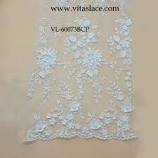 china wholesale white rayon 3d flower lace fabric for wedding