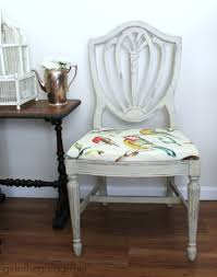 country grey chalk paint chair makeover with bird fabric in