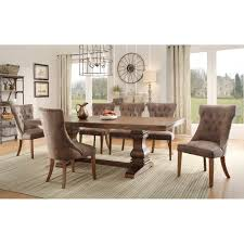 dining room interior round dark brown wooden table with black