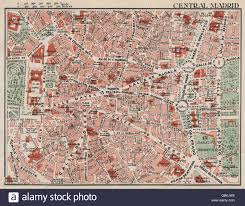 Madrid Spain Map Central Madrid Vintage Town City Map Plan Spain 1930 Stock