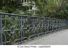 decorative metal fence on bridge in the park stock photo search