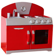 Retro Kitchen Sets by Hip Kids Red Retro Pretend Play Kitchen Wooden Toy Stove Oven