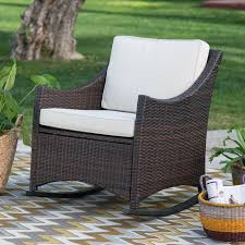 outdoor interiors eucalyptus and wicker outdoor rocker chair