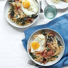 dinner egg recipes spaghetti with bacon eggs and swiss chard recipe for managing