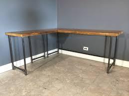 wood l l shape computer desk pc glass laptop table workstation corner